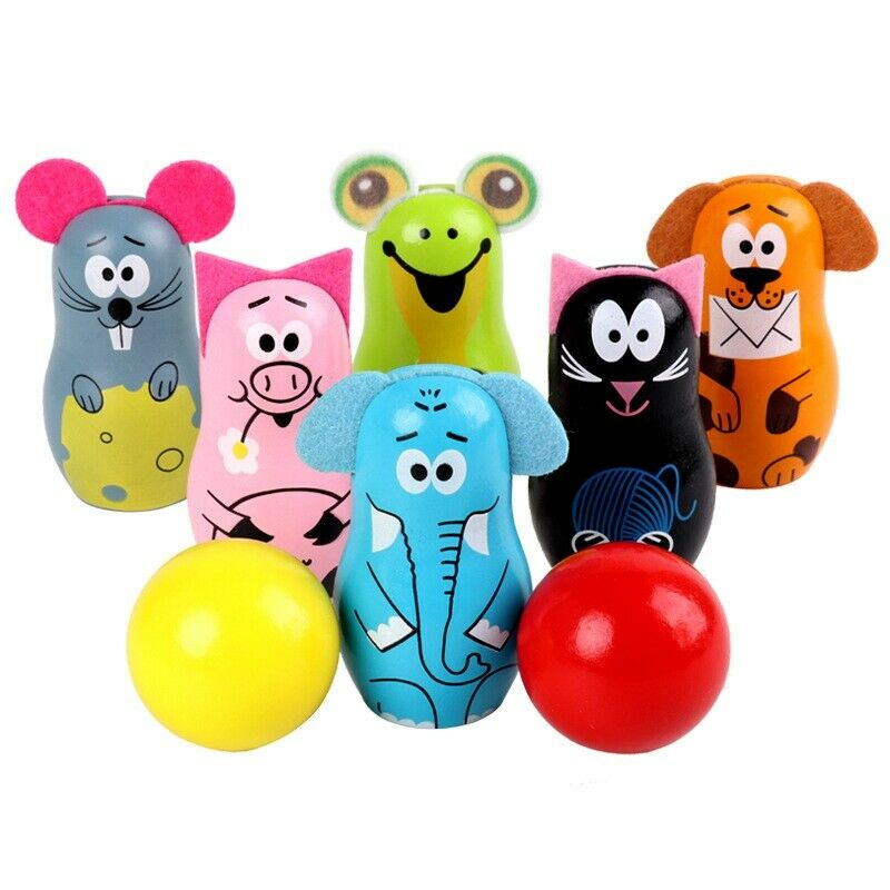 1X(Wooden Cartoon Animal Bowling Children Early Education