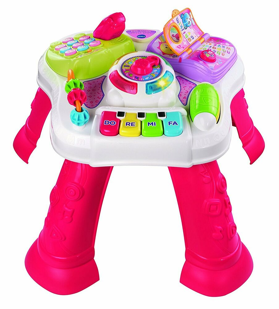 Play & Learn Activity Table Pink - light-up buttons 5 songs
