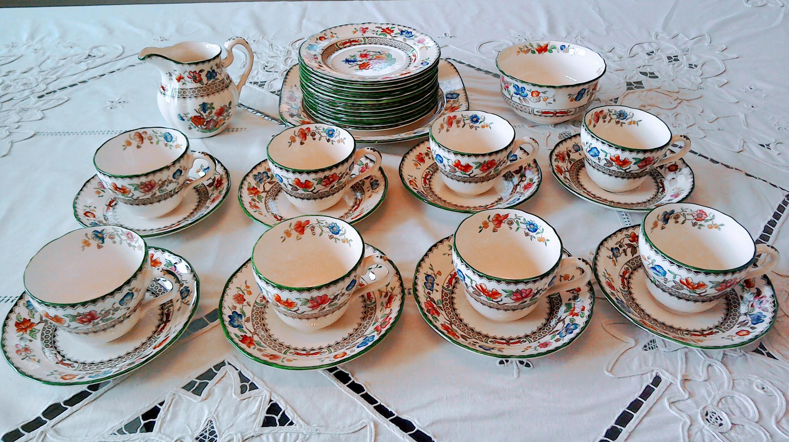 "Vintage Copeland Spode ""Rose China"" Pattern Tea Set"