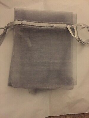 10 pack Silver Organza Gift and Wedding Favour Bags 7cm x