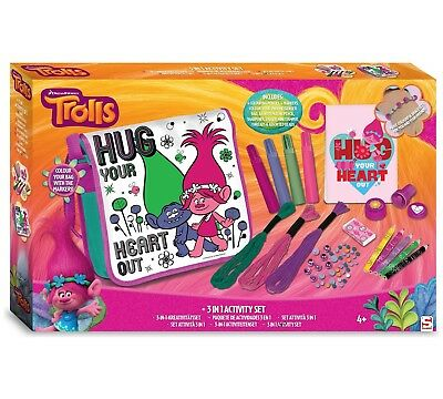 TROLLS 3 IN 1 ACTIVITY COLOUR BAG BEADS MARKERS NOTEPAD
