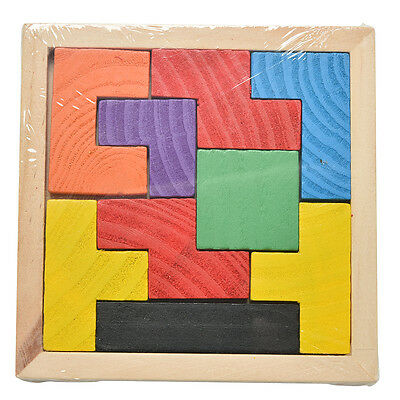 Wooden Tangram Brain Teaser Puzzle Tetris Game Educational