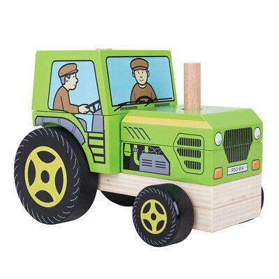 Bigjigs Toys Wooden Stacking Stacker Tractor Toy Shape