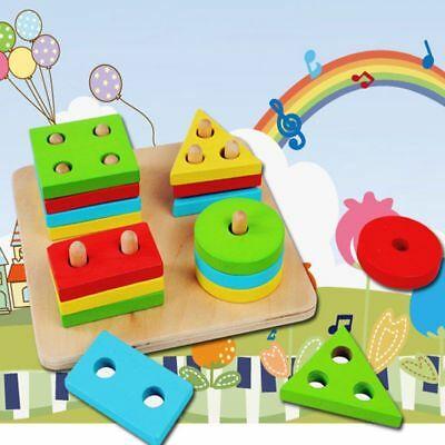 Building Blocks Wooden Geometric Sorting Board Kids Baby