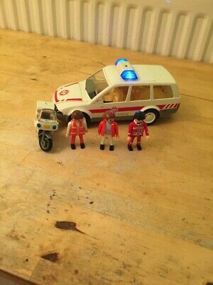 Playmobil ambulance car and motorcycle set emergency
