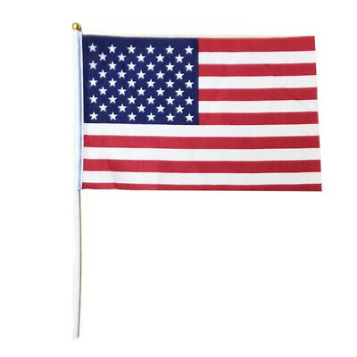 USA Stars and Stripes 10PC Waving Hand Flags with Sticks for