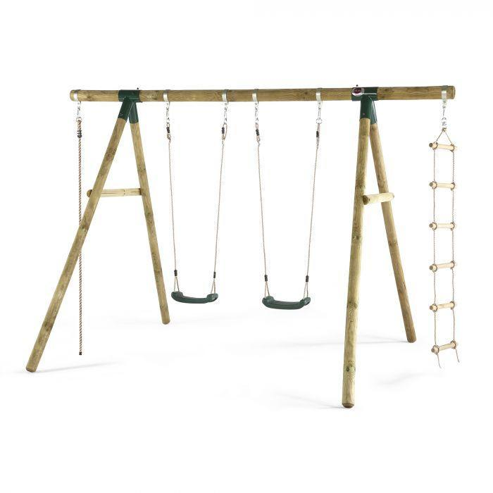 Wooden swing set with 3 seats and rope climb
