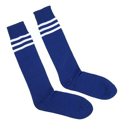 Old School White Stripe on Blue Knee High Athletic Sports