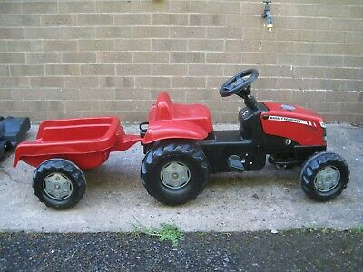 Rolly Toys Kid's Ride-on Pedal Tractor Toy and trailer.