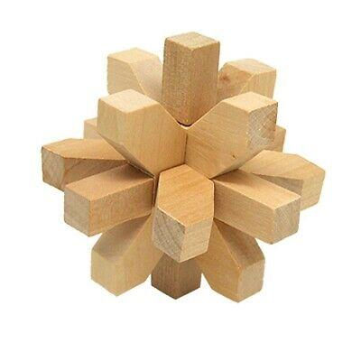 1X(Vintage Wooden Brain Teaser Puzzle 3D Toys Hobbies S7M4)