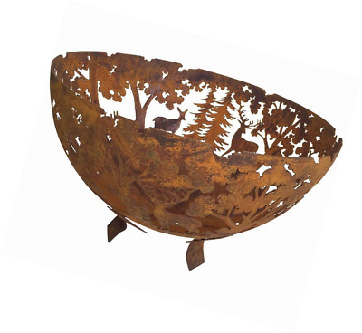 Fallen Fruits Oxidised Rust Effect Woodland Fire Pit Basket