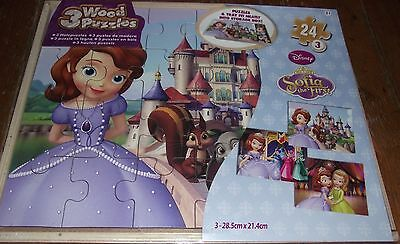 SUPERB 3 SOFIA THE FIRST 24 PIECE WOODEN PUZZLES IN WOODEN