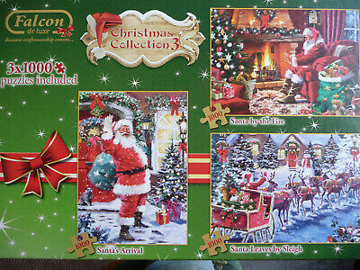 CHRISTMASD COLLECTION 3 3 X  PIECE FALCON JIGSAWS USED