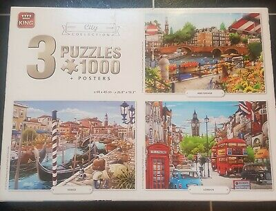 King  City Collection 3 in 1 Jigsaw Puzzles - 3 X
