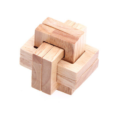 Wooden Wood 3D IQ Brain Teaser Acacia Kong Ming Lock Puzzle