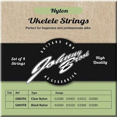 Set of 4 High Quality Black Nylon Ukulele Strings Johnny