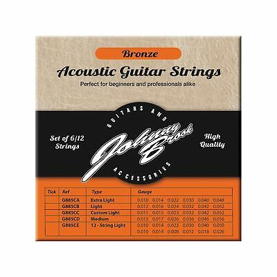 Set of 6 High Quality Bronze Acoustic Guitar Strings (Light