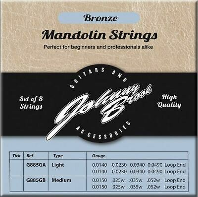 Set of 8 High Quality Bronze Mandolin Strings (Light Gauge)
