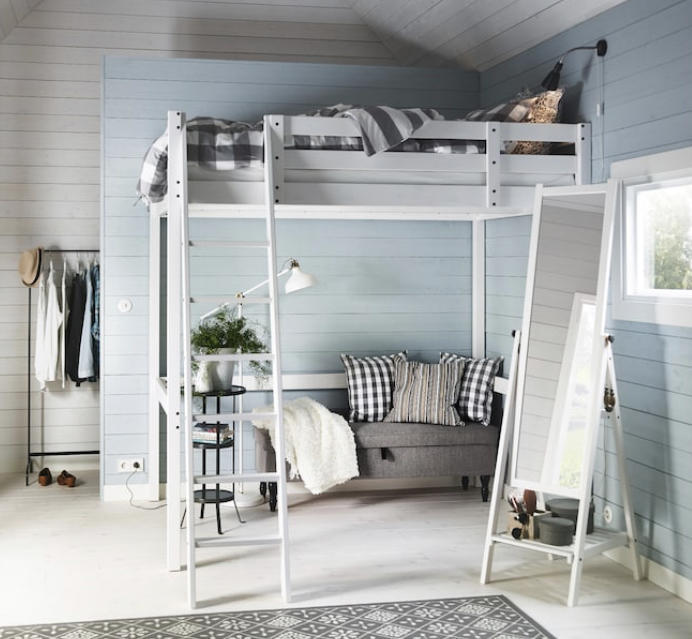 IKEA STORÅ | Loft Bed Frame | Double | White | No Mattress