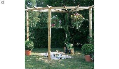 Wooden Forest corner radial pergola kit for garden