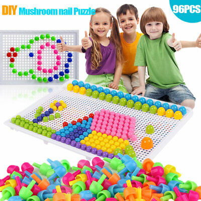 Children Puzzle Peg Board With 96Pegs Kids Early Educational