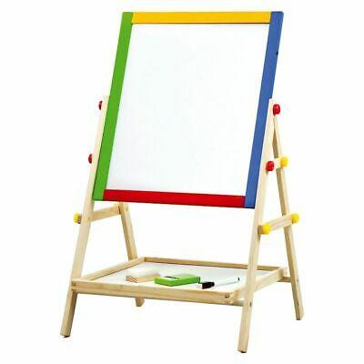 Kids 2 In 1 Wooden Easel Blackboard Chalk Board Whiteboard