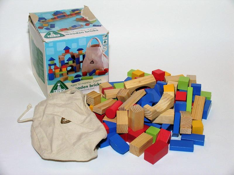 Wooden click clack ramp with cars and ELC wooden building