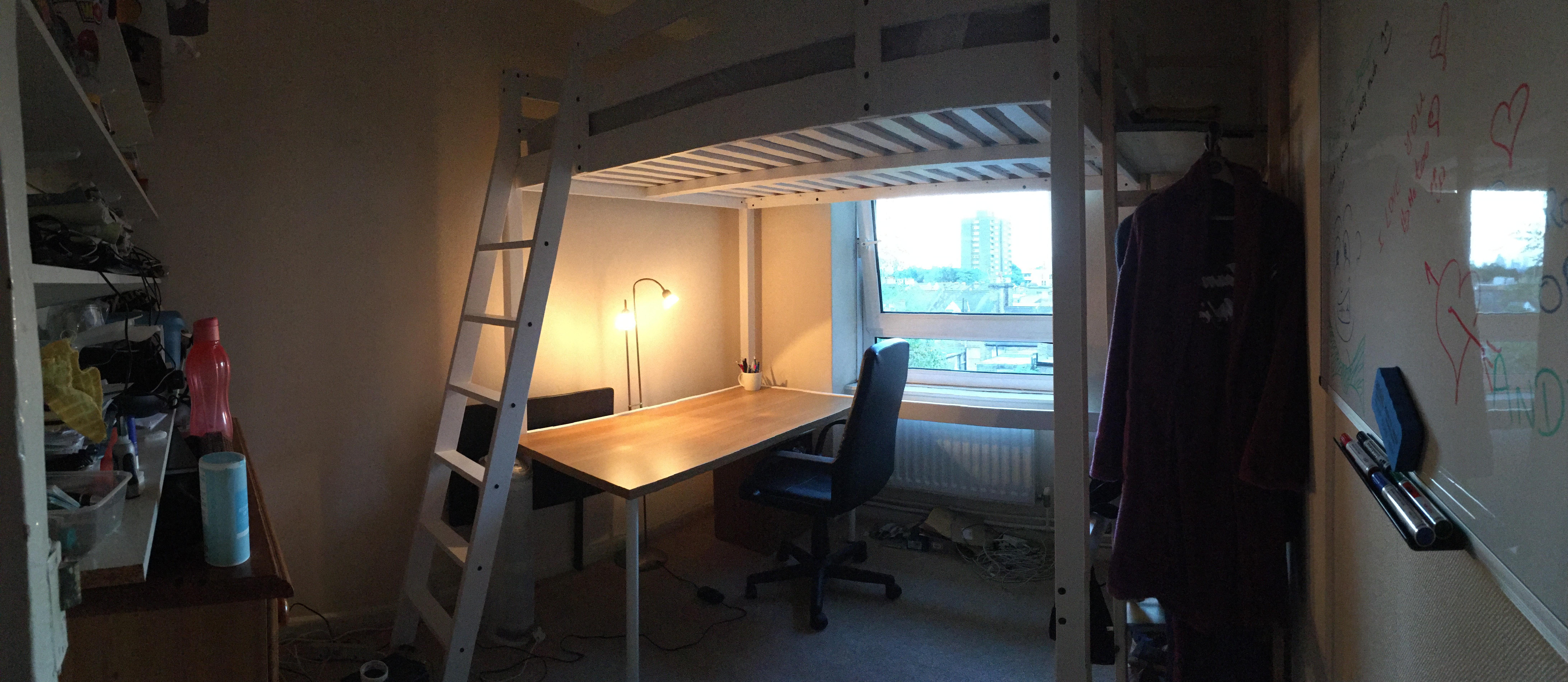 Double loft bed Ikea (Stora) with mattress