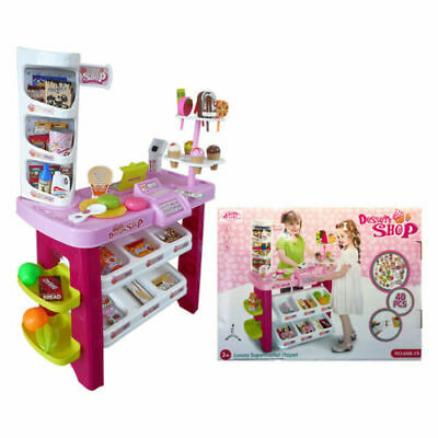 NEW KIDS 40PC DESERT SHOP SUPERMARKET CASH REGISTER TILL TOY