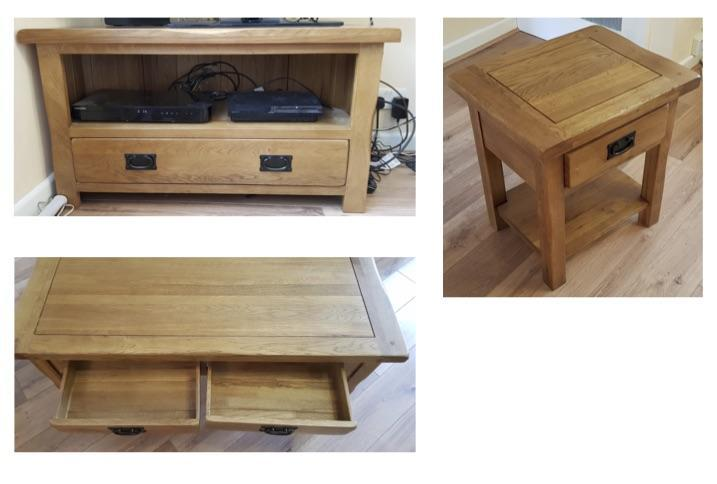 Oak Lamp table, TV Cabinet & Coffee table - sold as a set