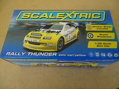 SCALEXTRIC C RALLY THUNDER YELLOW SOLO CAR MINT IN BOX