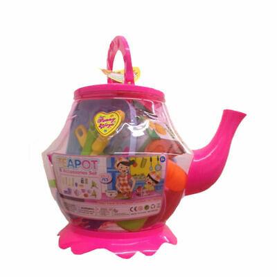 Large Plastic Teapot Toy Tea Set Role Play 25+1 pcs Kids