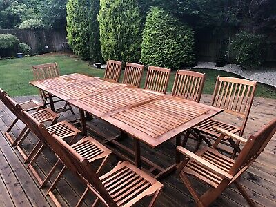 vidaXL Solid Acacia Wood Outdoor Dining Set 13 Piece Garden
