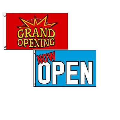 3x5 Grand Opening Yellow And Red Pennant And Now Open Blue
