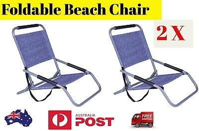 2X Beach Chair BLUE Foldable Camping Furniture Light Outdoor