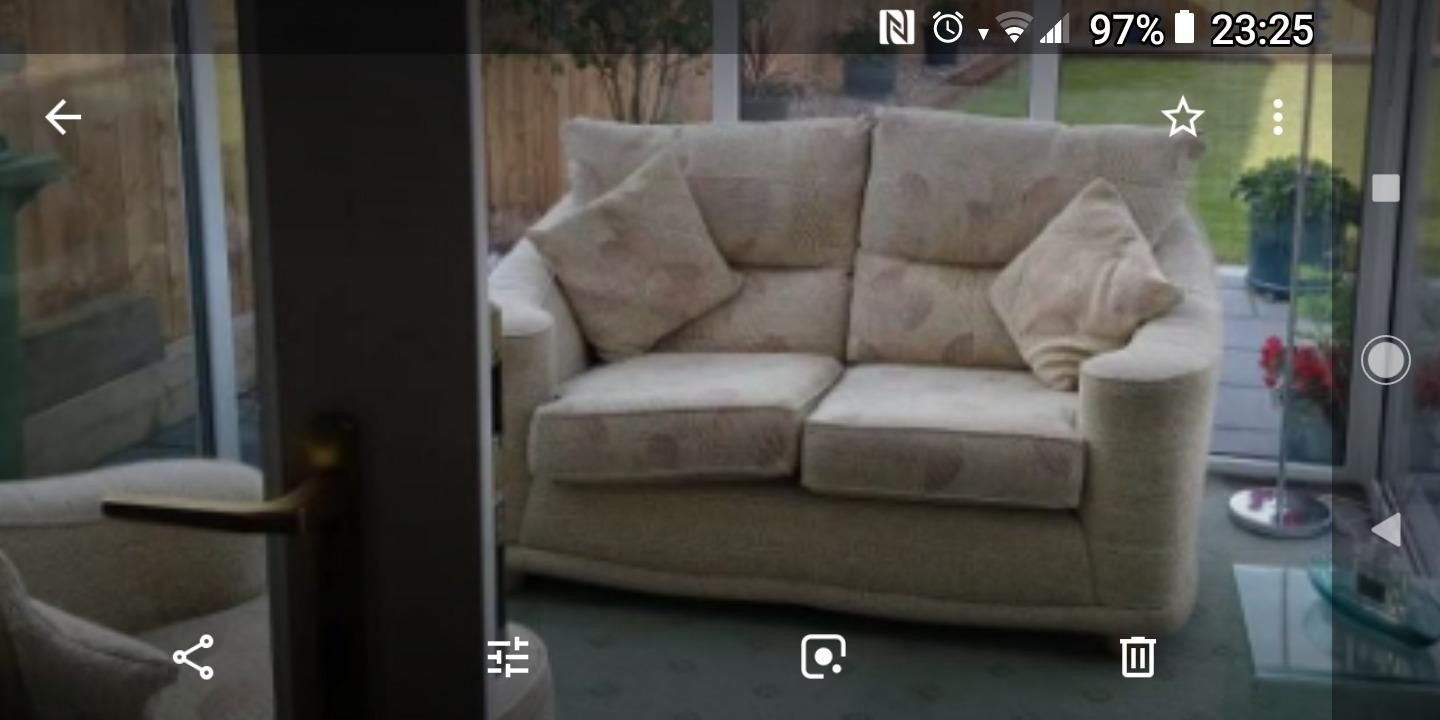 Two seater settee and chair with cushions as new