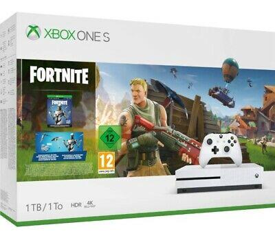 Microsoft Xbox One S 1TB White Console with Fortnite Battle