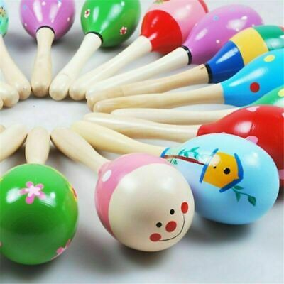 10x Wood Baby Musical Instrument Rattle Shaker Kids Toys