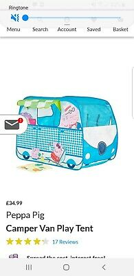 Kids Peppa Pig Campervan Playhouse Pop Up Role Play Tent Fun