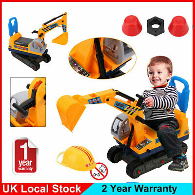 NEW CHILDRENS LARGE EXCAVATOR YELLOW RIDE ON DIGGER TOY