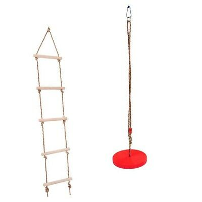 Outdoor Tree Hanging Tray Rope Swing + Climbing Ladder For