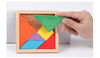 Color Wooden Tangram Brain Teaser Puzzle Educational