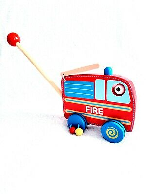 Fiesta Crafts Fire Engine Push And Roll Along Activity Toy