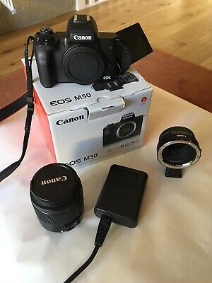 Hardly Used Canon EOS M50 Mirrorless Camera mm Lens,