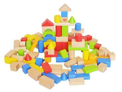 Tooky Toy Smooth Rounded Edges Wooden Resistant Blocks Set
