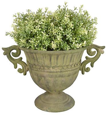 Esschert Design AM67 Round Aged Metal Urn, Small, Green