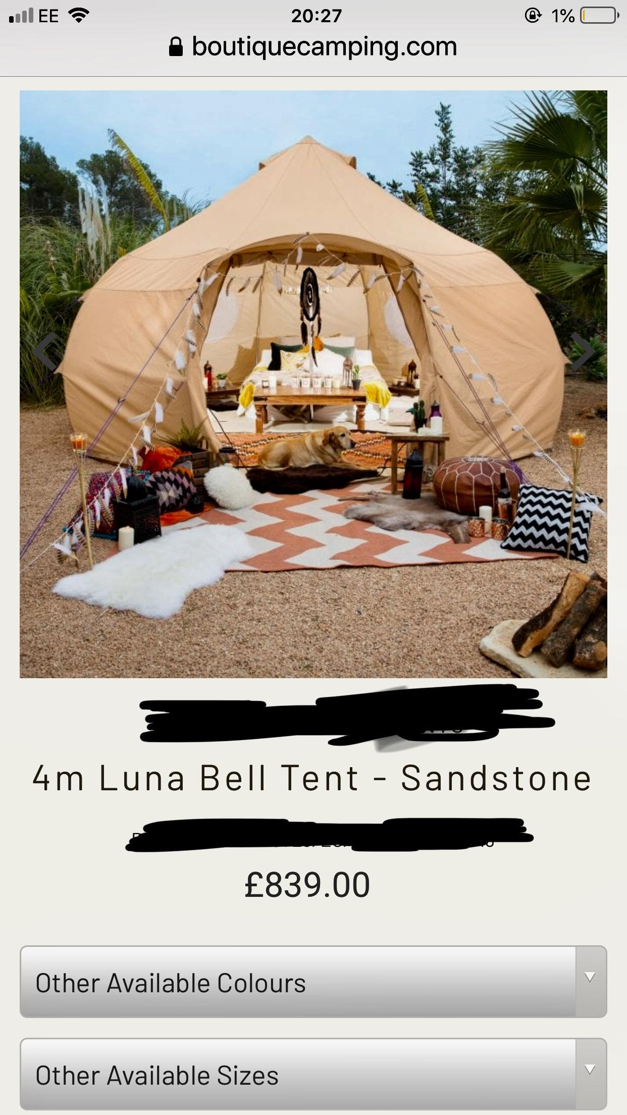 Brand new tent in unopened box m bell tent