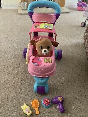 Vtech Push Along Pet Carrier Puppy Pink Pram Buggy Stroller
