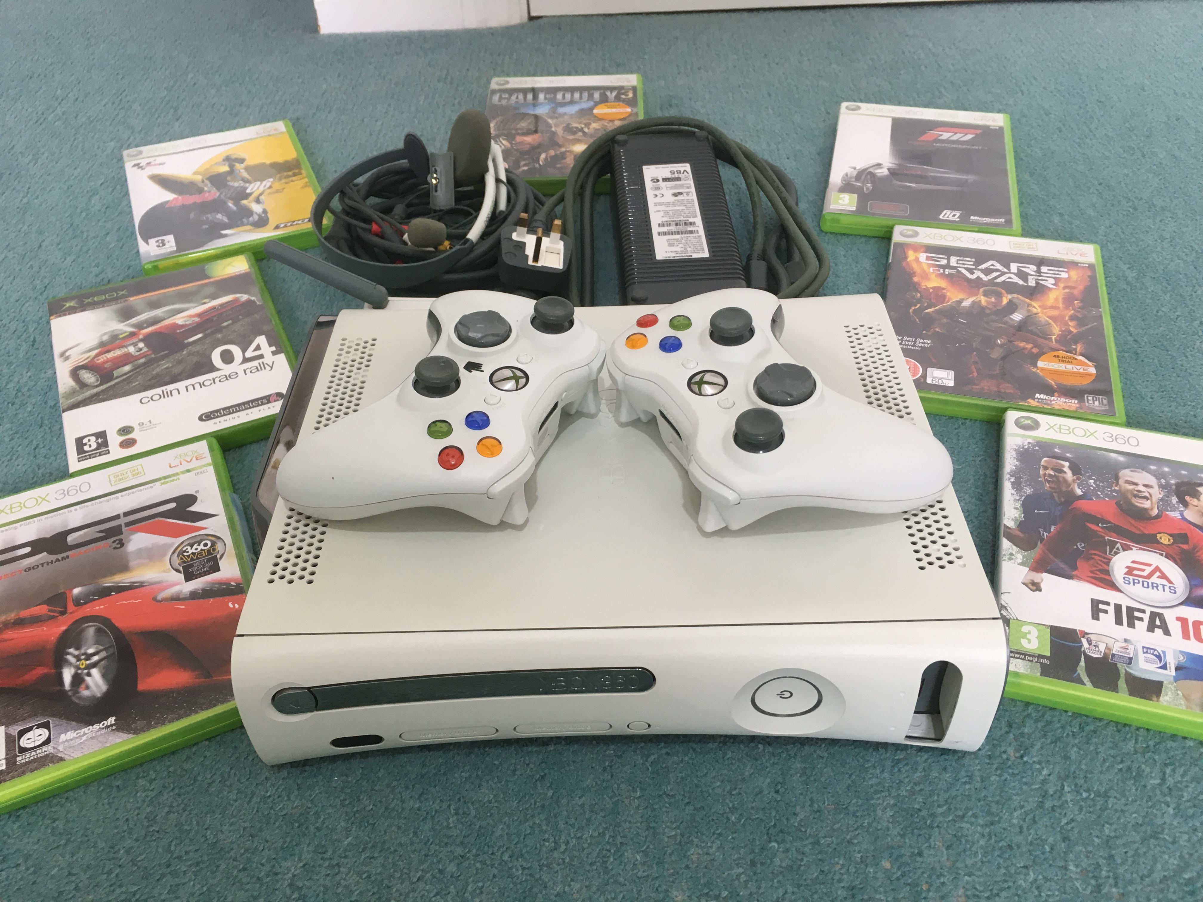 XBOX360 CONSOLE + GAMES TWO WIRELESS PADS ALL CABLES