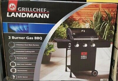 Landmann Grill Cheft with 3 Burner Gas BBQ, Brand new sealed